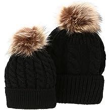 La Cabina Lot de 2 Pièces Chapeau de Mère et Bébé Bonnet Crochet Chapeau de  Sports d01870b3932
