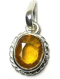 jewelryonclick amarillo zafiro 3quilates original naturales ovalada suelto Gemstone colgante de plata de ley 92,5
