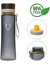 Botella de Agua 600ml Tritan Botella de Deportes de FOXAS Libre de BPA, (gris)