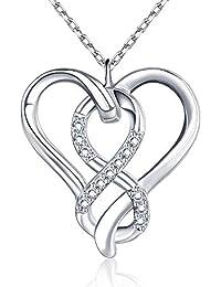 BlingGem Collier Infini Coeur Amour Bijoux pour Femme en Or Blanc Plaque Argent 925/1000 avec Zirconium Rond Coeur Pendentif Fille Diamant Cadeau de Bijoux pour La Graduation