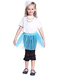 Tutu Jupe Tulle Froufrou transparent bleu rouge violet 28cm fille enfant danse mariage noel age 4 5 6 7 8 9 10 ans elastique