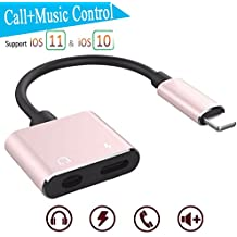 3.5mm Earphone Audio & Charge Adapter for iPhone X iPhone 10/8/8 Plus iPhone 7/7 Plus iPhone 6 / 6s Plus.Lightning Socket Earphone Accessories Converter and Charging Adapter,Splitter Enables Audio via Headphone Jack and Charge/Sync via Lightning at Same Time [Audio + Charge + Music] Support iOS 11 system or later