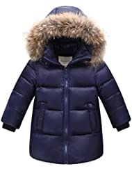 Niñas Niños abrigo Cintura de la cremallera chaquetas de plumón de pato blanco cálido con capucha para niños de invierno para exteriores