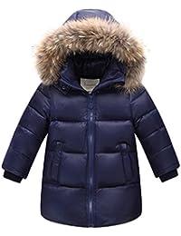 Niñas Niños Abrigo Cintura de la Cremallera Chaquetas de plumón de Pato  Blanco cálido con Capucha 2d09d8deb090