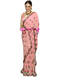 Swara Fashion Women's Banglori Silk Thread Work Saree(SFP-573_Peach)