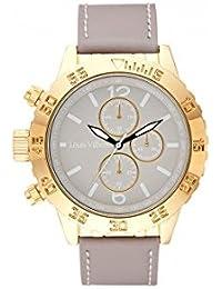 Reloj hombre Louis Villiers reloj 48 mm de acero blanco y pulsera gris piel lv1027
