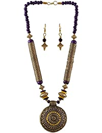 Arittra Alloy Tribal Design Purple Yellow Golden Pendal Ethnic Choker Style Necklace Set For Women And Girls