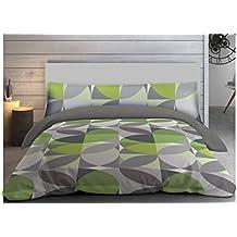 """ADP Home - Funda nórdica, juego de 3 piezas """"Shapes"""" (funda de almohada, bajera ajustable y funda nórdica), diseño único, cama de 135 cm"""