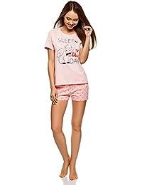 oodji Ultra Mujer Pijama Estampado con Pantalones Cortos