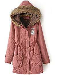Yasong Women's Girl's Zip Up Military Hooded Quilted Padded Parka Jacket Winter Overcoat
