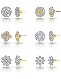 6355f362a7b Charms Combo of 6 Stylish 18K Gold Plated Crystal Stud Earrings For Women    Girls