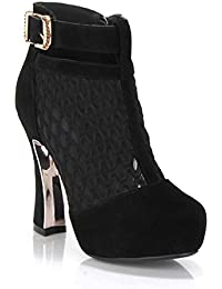 Grueso Piel alta Talón Corte señoras corto botas, negro, 35