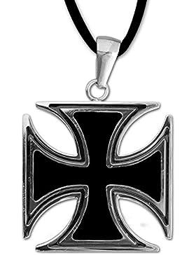 Anhänger Eisernes Kreuz 316L Edelstahl Schmuck Kreuzanhänger Iron Cross mit Lederhalsband Schmucksäckchen und...