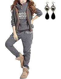 PIPIHU Mujer 3 Piezas Casual Chándal Conjuntos Deportivos Hoodie Abrigo Sudadera con Capucha Sweatshirt + Chaleco Chaqueta + Pantalones