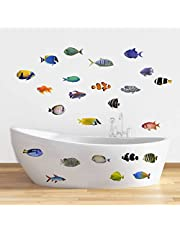 Rawpockets 'Living Room Fish Family' Wall Sticker (PVC Vinyl, 0.99 cm x 170 cm x 60 cm, Multicolour)