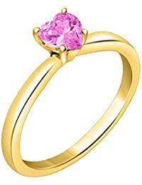 Silver Dew 925 Pure Silver CZ Diamond Pink Sapphire Solitaire Heart Fashion Ring For Women & Girls