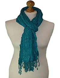 Teal elasticated scarf with lurex adornment (teal) 792-t
