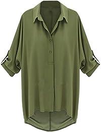 Blansdi Damen Frühling Sommer Freizeit Übergröße Basic T-Shirt Kurz Ärmel  Knopf V-Ausschnitt 3b055b50f1