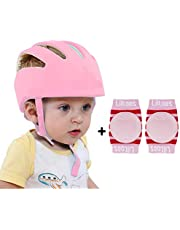 Liltoes Baby Safety Helmet Corner Guard & Proper Ventilation with Kneepad (Baby Pink)