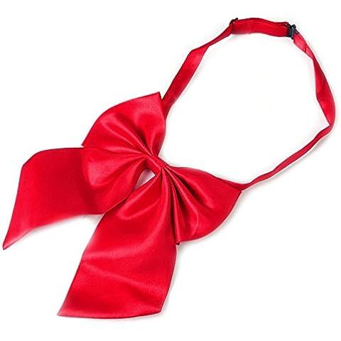Lazo de la moda de las mujeres arco de las muchachas corbatas banquete del partido del color sólido de la corbata ajustable rojo
