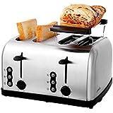 DZW 4 Slice Retro Toaster • 4 Slots • Toast Rack • 1500 W • Abtauung • Auftauen und Aufwärmen • Edelstahl • Abnehmbarer Krümelbehälter • Silber Multifunktion
