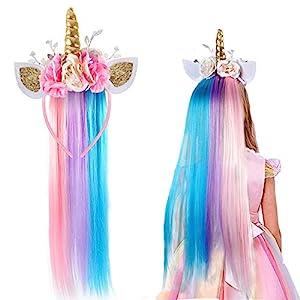 vamei Disfraz Unicornio niña Diadema