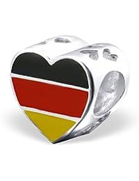 So Chic Joyas - Abalorio Charm bandera de Alemania - Alemania - Compatible con Pandora, Trollbeads, Chamilia, Biagi - Plata 925