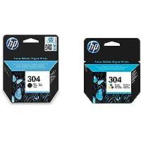 HP 304 Cartuchos de tinta originales, negro y tricolor, paquete de 2