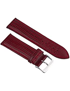 Uhrenarmband Leder Bordeau Teju-Eidechs Prägung 14-24mm Armband Uhr Band 24mm