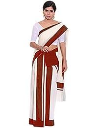 Fashionkiosks Kerala Cotton Kasavu Set Mundu With Blouse - B075VR5RNJ