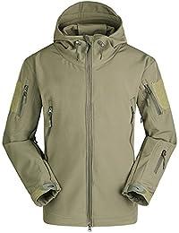 Fochu@ Hombres impermeable al aire libre polar caza Tactical Softshell chaqueta con capucha abrigo (