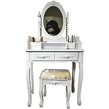 Livitat sp86tocador con taburete y espejo, color blanco