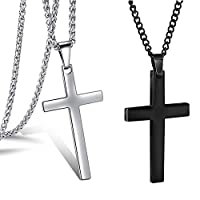 """2Pcs وحش Stainless Steel Simple Black and silver Cross Pendant Necklace for Men Women Chain Set (Pendant with 24"""" Chain)"""