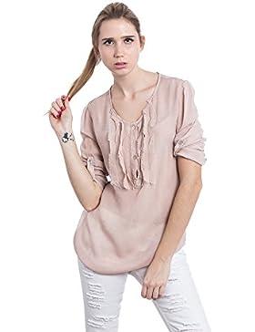 [Sponsorizzato]Abbino A065 Bluses Tops Donne - Made in Italy - 3 colori - Eleganti Mezza Stagione Primavera Estate Autunno Manica...