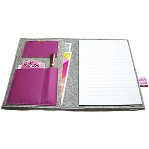 Organizer für Din A5 Kalender, Notizbuch oder Ringbuch, Merino Wollfilz Leder