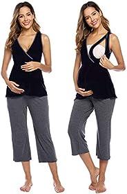 Zexxxy Women's Ultra Soft Maternity & Nursing Pajama Set Pregnancy Sleepwea