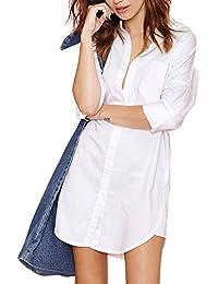 537744fb HaoDuoYi Womens Casual Basic Button Down Boyfriend Long Shirt Dress Top