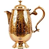 Indian Art Villa Embossed Design Mughlai Style Brass Jug Pitcher, (1400ml, Gold)
