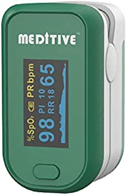 MEDITIVE Fingertip Pulse Oxygen Monitor, Pulse Rate with Respiratory Rate RR and Perfusion Index (Green)