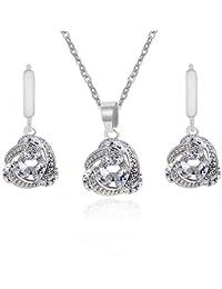 18 K oro blanco GP blanco puro juego elegante del collar de cristales de Swarovski pendientes perforados