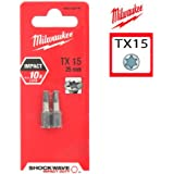 2 Embouts Torx MILWAUKEE TX15 25mm SHOCKWAVE 4932352440