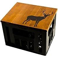 Geschenkidee Geburtstagsgeschenk Bierkastensitz Bierkistensitz Sitzauflage Bierkiste Bierkasten Sitz Hocker Holz Handmade Hipster mit Motiv Hirsch