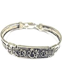 Silverwala 925 Sterling Silver Oxidised Adjustable OM Bracelet for Men and Boys