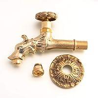 Antikas | Wasserhahn für Wandbrunnen | 1/2 Zoll | Messing Wasserspeier in Antik Optik