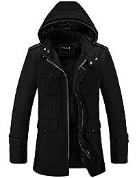 Zicac Winter Herbst Männer Stehkragen Jacke mit Kapuze Lose Dicken Mantel in MD-langen Stil aus Reiner Baumwolle