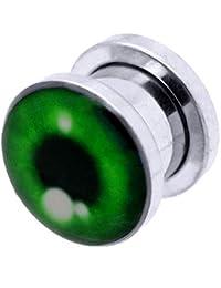 tumundo 1 Pieza o Kit Túnel Dilataciones Acero Inox Pendientes Piercing Expansor Stretcher Verde Ojo Halloween