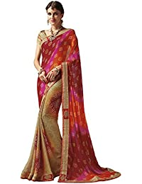 EthnicJunction Women's Georgette Bandhani Zari Lace Border Saree With Blouse(Traditional Cream,EJ1173-5273 A)