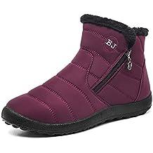 Gaatpot Zapatos Invierno Mujer Botas de Nieve Forradas Zapatillas Botines  Planas con Cremallera 35-43 415478c8fc4cc