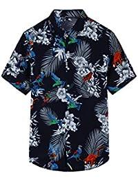 cc42271d75e690 YACUN Uomini Sono Camicie Hawaiane Black Pappagallo Lascia Piumaggio Casual  Tee