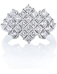 Silver Dew Pure 925 Sterling Silver Valentine`s Day Princess Cut Cluster Diamond Ring For Women & Girls Jewellery